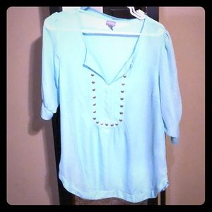 Aqua blue 3/4 embellished blouse from Vanity